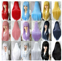 Wholesale 11 Colors quot cm Heat Resistant Bangs Synthetic Hair Long Straight Cosplay Anime Wigs Full Wig
