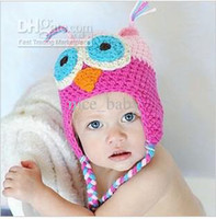 Cheap MOQ 5pcs lot free shipping 8 color in stock OWL Crochet Children Hat with Ear Animal baby cap B061p