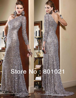 Model Pictures One-Shoulder Chiffon Top Sale One Shoulder Gown Court Train Full Long Sleeve Sequined Chiffon Sheath Prom Dress