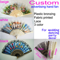 Wholesale 144pcs one design Custom Various Patterns Plastic Bronzing Lace Folding Advertising Hand Fans Color Fan Ribs For Wedding and Dancing