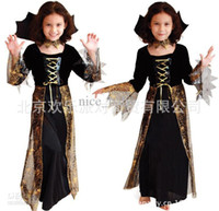 Women beauty bats shipping - Hotsale Black Witch Costumes For Girls Evil Witches Bat Girl Costume Spider Queen Dress Kids Onesies Spider Witch Dress Free ship D77