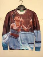 Cheap Men Women Fashion Hoodies New 2013 2014 3D Animal Girl Fuck Finger Printed Rihanna Sweatshirts Brand Iswag Galaxy Sweaters Slim Tee Tops
