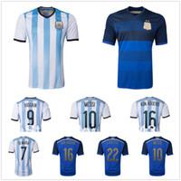 Campeón Argentina Local Visitante jerseys de fútbol 2014 Copa del Mundo de fútbol lleva camisa superior calidad de Tailandia de Fútbol Soccer Jersey Kits barato al aire libre