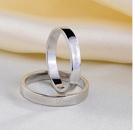 Wholesale China Love Couples - Wholesale Korea style 925 sterling silver ring couple creative LOVE teaser white copper ring