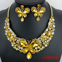Wholesale Butterfly Jewellery Set Fashion bridal Jewelry Set Crystal Necklace Earrings wedding jewelry set for bride women
