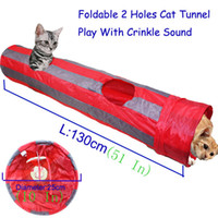 Wholesale Pet Tunnel Cat Play Tunnel Red Gray Foldable Holes Cat Tunnel Play Crinkle Sound Cat Toy Bulk Cat Toys Rabbit Play Tunnel