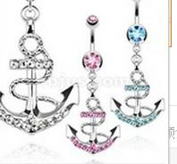 Navel & Bell Button Rings anchor chain types - Explosion models New Rhinestone Anchor Dangle Button Barbell Belly Navel Ring Bar Body Piercing Chain Type Jewelry