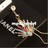 Earphone Jack Plugs 3.5mm  Min.order is $ 10 (Mix order) Free Shipping 2014 New Arrival Cell Phone Accessories Dust Plug Full Crystal Peacock Phone Chain
