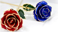 Wholesale 24K Blue Lady Red Hot Gold Plated Real Rose Gift Box Romantic Flower for Valentine s day Wedding Christmas Girlfriends Presents