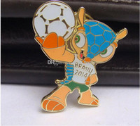 Wholesale 2014 Brazil World Cup Souvenir Badge Brooch Medals Fans Mascot Gift