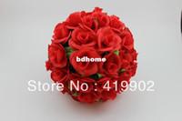 Wholesale 25cm inch Artificial Kissing Pomander Rose Flowers Ball Bouquet Wedding Party Christmas Decoration Colors Available