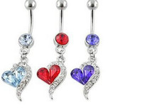 Wholesale 2014 New Heart Crystal Rhinestone Navel Belly Button Barbell Ring Body Piercing