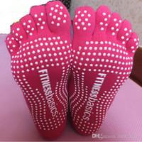 Wholesale Yoga Socks Yoga Fitness Anti skid Sports Sock Skid Massage Five Toe Socks Free Size Cotton PVC Anti slip Point Beads