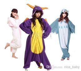 Wholesale Animal Onesies Adult Unisex Kigurumi Onesie Cosplay Costumes Pyjamas Flannel Pajamas For Christmas Owl Unicorn Spyro Dragon Animal Pieces