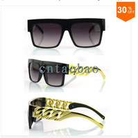 Wholesale New Kim Kardashian Beyonce Celebrities Style Flat Top Men Women Metal Gold Chain Fashion Sunglasses Oculos De Sol Gafas