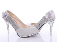 Pumps beautiful pink bridal shoes - beautiful Silver Vogue lace Flowers Crystal High Heels Wedding Bridal Shoes