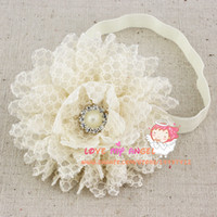 Wholesale Baby Girl head band vintage lace flower with pearl button on elastic headband Baby amp kids products hair Accessories