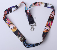 Wholesale Fedex EMS Ship cartoon frozen Anna Elsa princess children key Lanyard key chains cell phone chains ID Neck Strap school bag rings gift
