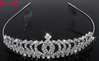 achat en gros de coeurs queen tiare-Bijoux en cristal Coeur Reine Couronne Tiara strass nuptiale cheveux Accessoires cheveux de mariage