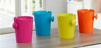 Wholesale Candy Color Convenient Desktop Wave Cover Trash Can Mini Snack Garbage Can Rubbish Bin Storage Bucket Waste Bins
