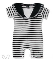 Unisex Summer  Hot Helling Summer Clothing For Baby Boys Stripe Navy Sailor Romper 0-24M Toddler Infant Jumpsuits Bodysuit Factory