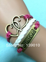 Charm Bracelets american metal buildings - White Red Thread Knitted New Bracelet Metal Alloy Double Heart Sister Build You Own Design Jewelry C