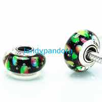 Cheap S925 Sterling Silver Screw Double Oxide Threaded Core Loose Murano Glass Beads Fit European Jewelry Pandora Bracelets Necklaces & Pend-MU179