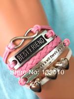 Charm Bracelets best halloween crafts - Unique Leather Hand Craft Bracelet Fashion Women Heart Best Friend Infinity Inspirational Jewelry S
