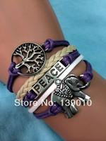 Charm Bracelets antique tv - Hand woven Purple Leather Ribbon Wishing Tree Elephant Peace Bracelet Trendy Girl s Antique Jewelry S