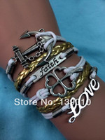 Wholesale Hand Knitted Gold White Leather Rope Anchor Faith LOVE Clover Bracelet Fashion Alloy Charm Jewelry S