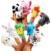 Teddy Bear White Plush Free Shipping Baby Plush Toy 20 pcs lot Finger Puppets Tell Story Props(10 animal group)Animal Doll Kids Toys Children Gift