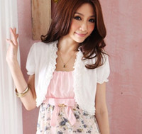 Flare/Bell Sleeve batik designs - Summer womens short design small cape short sleeve shrug small cardigan cotton short tops blue pink white blouse