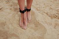 Cheap Romantic Crochet Barefoot Sandals Best Cotton Christmas Day Wedding Barefoot Sandals