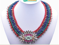 Wholesale 2014 Z RA new chokers Handmade weaving set auger ruby necklace retro chokers for Cocktail Party Dress