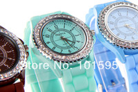 Wholesale Fashion Geneva Crystal Watch Jelly Gel Silicon Girl Women s Quartz Wrist Watch Candy Colors