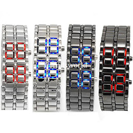 Black silver Lava LED Display Watch Iron Samurai Stainless Steel Watch For Men Women Sports Digital Watch