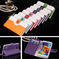 For Samsung Leather  Moleskin Mouse Hybrid Impact Flip Wallet PU Leather Case Cover With Credit Card Slots Stand Holder For Samsung Galaxy S5 i9600 G900