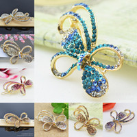 Barrettes & Clips Women's Party 10pcs lot 2014 new Women jewelry alloy hair accessories Diamond gold plated alloy butterfly model Barrettes Fashion headdress flower 5color
