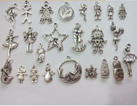 Traditional Charm floating locket charms - 120pcs Mixed Tibetan Silver Plated Boy Girl Angel Charm Pendants for Jewelry Making DIY Floating Locket Charm Handmade styles