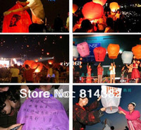 Multicolor Bubble PA Wholesales 5pcs lot Chinese Style Sky Kongming Lantern +Pen Flying Wishing Lamp Memorial Wedding Party Paper Lights Gifts