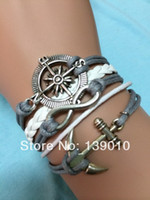 Wholesale Braided White Leather Rope Anchor Compass Infinity Strap Bracelet Fashion Men Costume Alloy Jewelry S