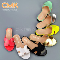 pvc sandals - CMK KS005 Summer Candy Colors Girls Slippers h Sandals Princess Patent Leather all match Kids Low heeled Children Shoes