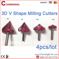 """Yes 4pcs/lot V shape cutter  new 4 Pcs 0.24"""" 6mm Dia. V-Shaped 3D Engraving Tools, 60 90 120 150 angel Carving Bits,CNC Router Cutting Tools,Wood Router Bits"""