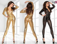 Wholesale Lowest Price Bodysuit Sexy wetlook Punching Faux Leather Gothic Clubwear Fetish PUNK Bustier Catsuits Gold Black