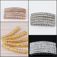 Connectors alloy tube connectors - Metal Plated Mix Curved Side Ways Tube Bar Clear Crystal Rhinestone Bracelets Connector Beads Findings Jewellry