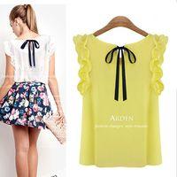 Women Silk Appliques 2014 new spring shirt crop top clothing blusas european style dudalina ruffles sleeveless chiffon s for women