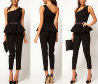 Casual Dresses V_Neck A Line dresses 2013 Elegant Women One Shoulder Beaded Black Jumpsuit Sexy Jumpsuit Pants Party