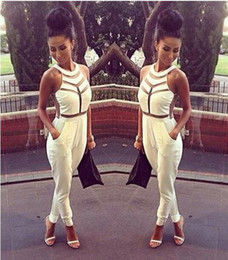 Wholesale Fashion Net yarn splicing halter Jumpsuit Sexy women bandage dress Milenka Mesh Panel Jumpsuit White Black S M L