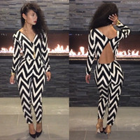 Wholesale 2014 New Women Fashion V neck black amp white print Bodycon Club backless Bandage Jumpsuits amp Rompers party dresses
