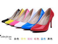 Wholesale Star fashion patent leather shoes with beautiful models superfine pointed high heeled pumps sexy shoes female models in spring